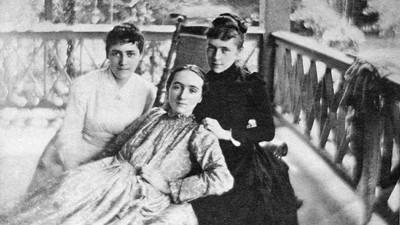 Mary Virginia Merrick, center, with her sisters, Nanny (left) and Margaret, circa 1880s, on the porch at Linwood.