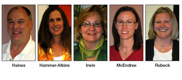 Finalists for Washington County 2012-13 Teacher of the Year are, from left, Allen Haines, Christina Hammer-Atkins, Sally Irwin, Heather McEndree and Katie Rubeck.