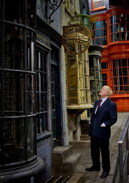 London Mayor Boris Johnson visits the Diagon Alley set of the Making of Harry Potter tour at Warner Bros.' studios in England.