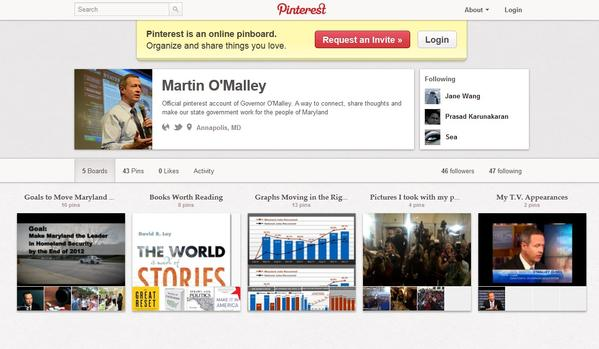 Gov. O'Malley's Pinterest page.