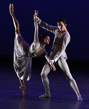 "Misty Copeland and Gray Davis in Christopher Wheeldon's ""Thirteen Diversions,"" performed Thursday at Segerstrom Center by American Ballet Theatre."