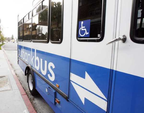 A BurbankBus arrives on Empire Avenue at Buena Vista Avenue. Officials this week discussed cutting bus services for BurbankBus Senior and Disabled Transit.