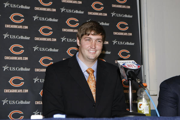 Jay Cutler was introduced as the new quarterback for the Bears at a news conference on Friday, April 3.