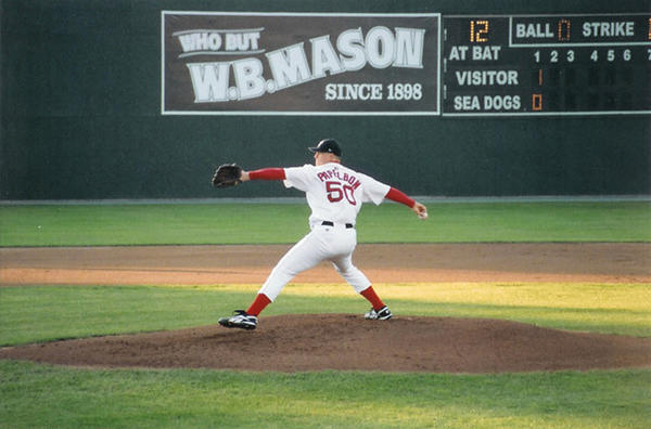 Jonathan Papelbon pitching for the Portland (Maine) Sea Dogs in 2005 in the Double-A Eastern League.