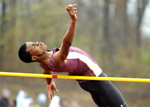 J.C. Falcon of Whitehall High clears the bar in the high jump in annual Whitehall Zephyr Relays.