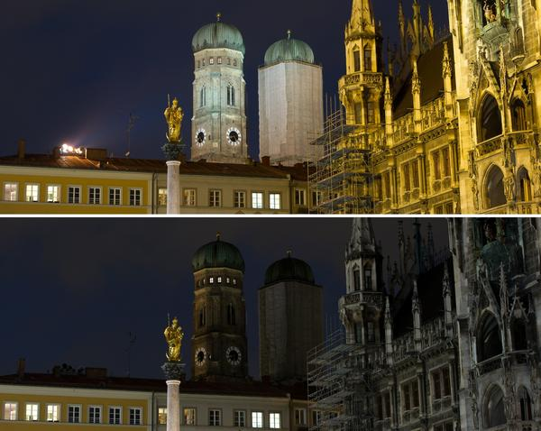 "Combo of two pictures shows the city hall (R) and the Cathedral of Our Dear Lady (Dom zu Unserer Lieben Frau, Frauenkirche) in Munich, southern Germany, before (top) and after illumination was switched off on March 31, 2012 during the ""Earth Hour""."