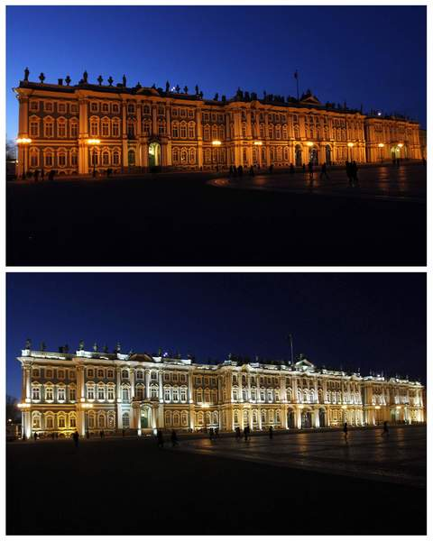A combination photo shows the Hermitage museum during (top) and after Earth Hour in St. Petersburg March 31, 2012.