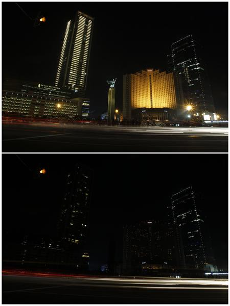 A combination picture shows the Welcome Statue before (top) and during Earth Hour in Jakarta March 31, 2012.