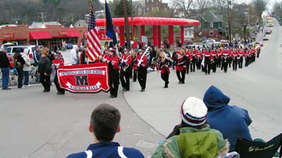 Meyersdale Area High School marching band was one of 100 entries in the 65th annual Maple Festival parade on Saturday afternoon.