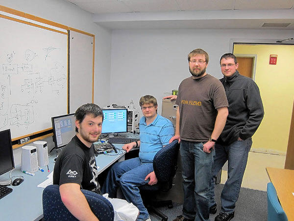 The Purdue University College of Technology at South Bend team of students working with AE Techron, of Elkhart, are, from left, Sean Hagan, Joshua Tubbs, Dean Schaetzl and John McPhee.