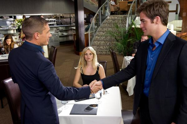 The film starring Tom Hardy (left), Reese Witherspoon (middle) and Chris Pine (right) received an R rating from the MPAA. The distributor failed to get the PG-13 rating it wanted.