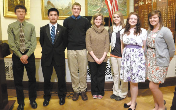 From left, Evan Hardy, Zeyu Hao, Benjamin Cornwell, Christina Thompson, Abby Harp, Jaclyn Hixon and Kelsie Munch. Not pictured: Sarah Stayer and Marantha Teferi