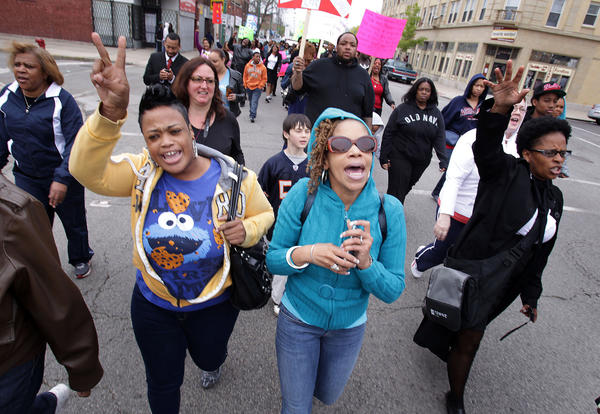 Members of Greater St. John Bible Church during an anti-violence march in the Austin neighborhood today.