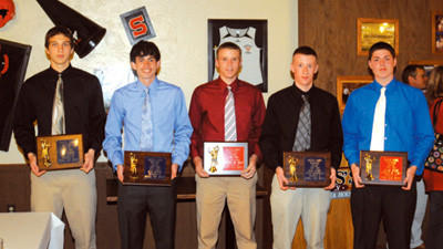 Players selected to the 2012 all-county boys basketball first team were, from left, Wade Walker, Shade; Ryan Fyock, Shade; Dillon Boyer, Conemaugh Township; Kyle Cooney, Berlin; and Grant Speigle, Conemaugh Township.