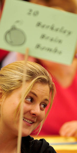 Berkeley Brain Bombs team member Christy McDowell waits Sunday for the start of the annual Brain Games competition.
