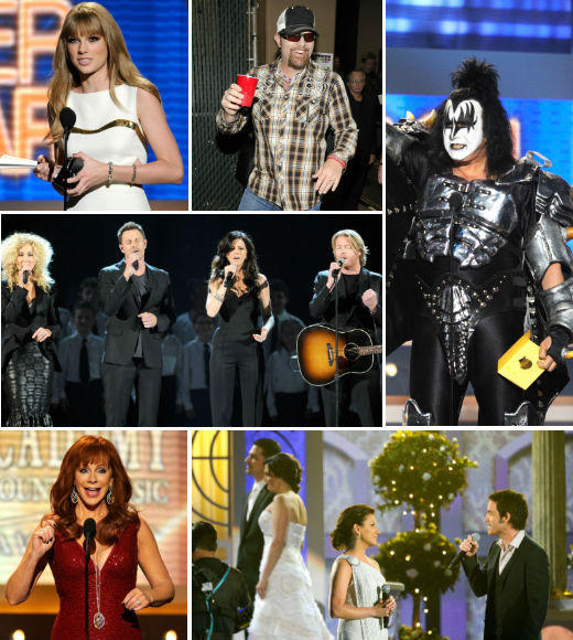 Academy of Country Music Awards 2012 Best & Worst: Taylor Swift, Carrie Underwood, Blake Shelton and more: From Blake Sheltons quips to Taylor Swifts surprise face, from a strange televised wedding to some absolutely wonderful performances, here are the best and worst moments from the 2012 Academy of Country Music Awards ceremony, held in Las Vegas on April 1.