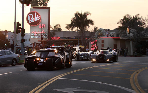 Batmobiles of different eras roll through Burbank Friday, March 30.