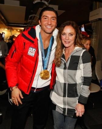 Evan Lysacek and figure skating legend Peggy Fleming at a party following his 2010 Olympic victo