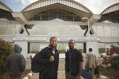 Anquan Boldin and Larry Fitzgerald pose for a picture upon arriving at Mek'ele Airport from Addis Ababa.