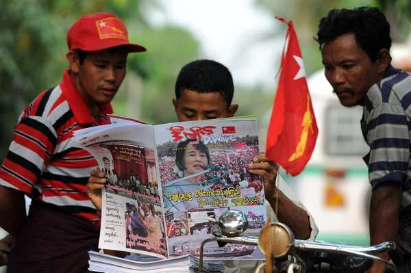 In Yangon, Myanmar opposition leader Aung San Suu Kyi makes the front-page news a day after winning a parliamentary by-election.
