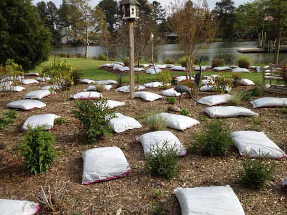 Mulch in 2-cubic-foot bags is easy to place, split open and spread.