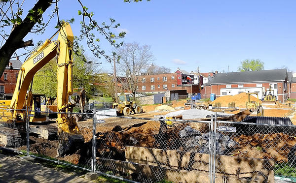 Work has begun on the new office and gymnasium building at the Salvation Army on West Franklin Street.