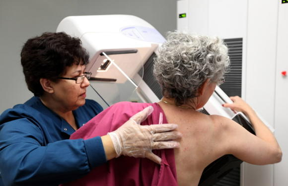 A 65-year-old patient gets a mammogram