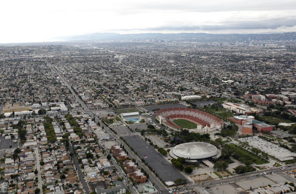 The Los Angeles Memorial Coliseum from the Goodyear Blimp.
