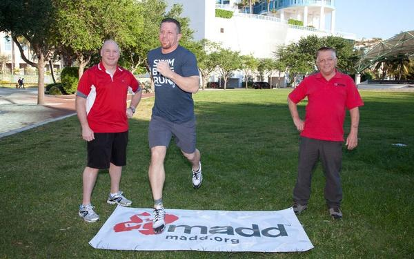 "David Pinsker, left, Jarret Streiner and William DeMaio promote MADD's (Mothers Against Drunk Driving) ""Walk Like MADD & MADD Dash,"" which takes place on May 6 at Huizenga Park located in Fort Lauderdale."