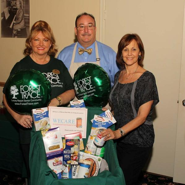 "Sandy Warren, left, Campbell Epes and Susan Baigelman at the third annual ""Golden Matzah Bowl"" contest, which was hosted by Forest Trace, a retirement community located in Lauderhill. Participation in the contest was free, though all attendees were asked to donate a box of matzah ball mix to WECARE, the Broward food pantry."