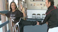 "PHL 17's Ashley Johnson ""Gets It Right, Gets It Tight"" at Daniel Pope Karate Institute in Landsdowne, PA.  Owner Daniel Pope teaches Ashley how to use combat sticks, throw someone across a room and all forms of karate kicks.  He says it's a great cardio workout for all ages.  People move up in rank by perfecting technique and learning respect. At the end of the session Ashley moves up to the next level and earns her yellow belt."