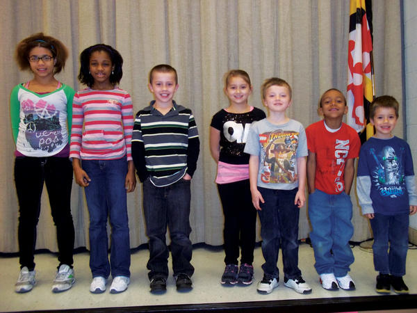 Pictured, from left, are Tianna Russ, fifth grade; Chris Moon, fourth grade; B.J. Jameson, third grade; Chloe Whittington, second grade; Mason Patterson, first grade; Elijah Blakney, kindergarten; and Domanick Trimmer, pre-kindergarten.