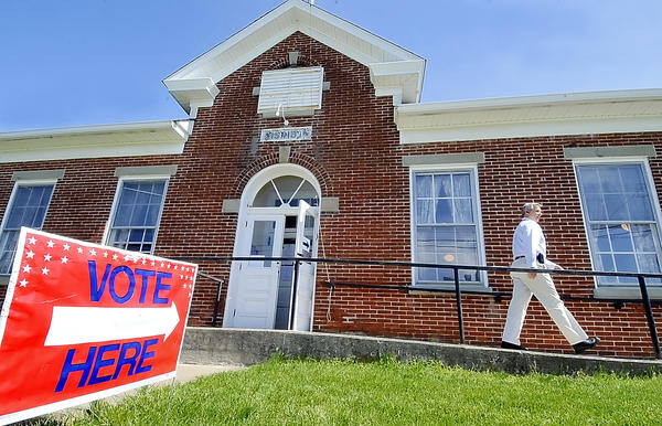 Mike Stouffer of Smithsburg leaves the Ringgold Ruritan Building after voting on Tuesday.