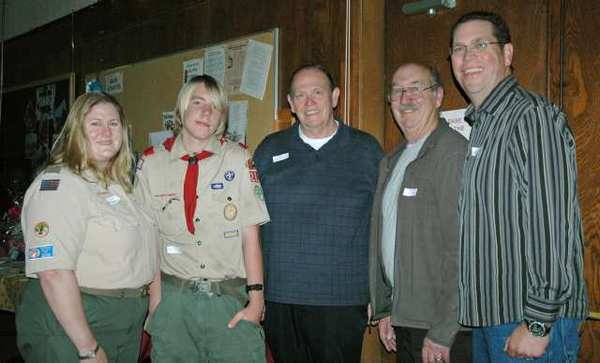 Attending the Boy Scouts Troop 201 reunion fundraiser on Sunday at the Magnolia Park United Methodist Church in Burbank are, from left, Scoutmaster Nancy Durkee, Evan Plummer, senior patrol leader; Bill Vosper, Eagle Scout, Troop 1 (which became 201); Don Peterson, institutional representative; and David Peterson, Eagle Scout, Troop 201.