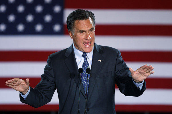 Republican presidential candidate and former Massachusetts Gov. Mitt Romney declares victory in the Wisconsin presidential primary at the Grain Exchange in Milwaukee.