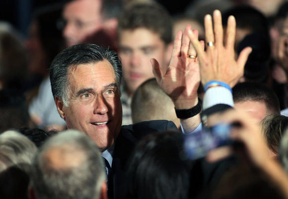 Mitt Romney holds primary night gathering