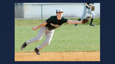 North Star shortstop Brantley Rice stops a hard ground ball before throwing the runner out at first.