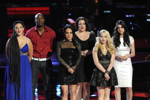 L-R: Naia Kete, Jermaine Paul, Jordis, Erin Willet, Raelynn, Charlotte Sometimes on 'The Voice'