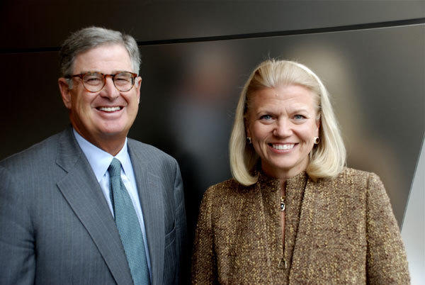 "Sam Palmisano and Virginia M. ""Ginni"" Rometty are seen at IBM's corporate headquarters in Armonk, New York."