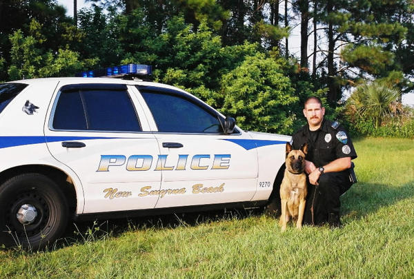 Officer Roy L. Nelson Jr., 36, and his police dog, Ceasar, died when Nelson, headed to the scene of a reported burglary, swerved his car to avoid another vehicle and crashed just east of the South Causeway on State Road A1A. Both Nelson and the dog were pronounced dead at the scene.  Officer Nelson had served with the New Smyrna Beach Police Department for seven years.