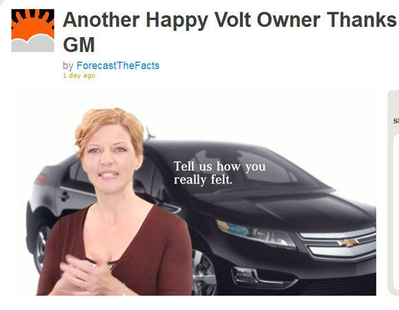 In a parody of Chevy's own ads, a Chevy Volt owner talks about how she felt betrayed when she discovered GM funded the Heartland Institute, which questions the existence of human-caused climate change. GM has since stopped funding Heartland.
