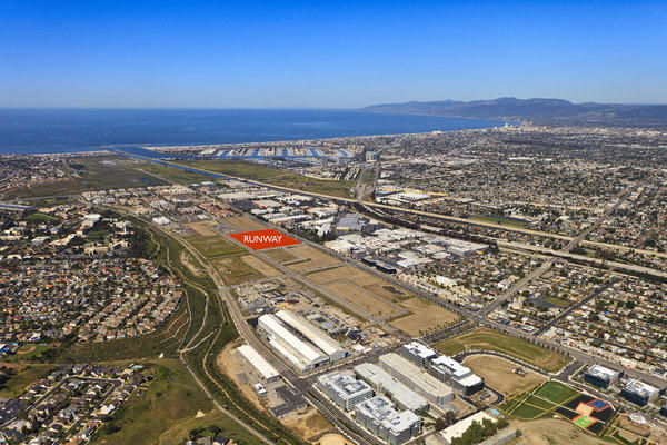 This rendering shows the location of the planned $260-million Runway at Playa Vista, which is intended to be the commercial and social center of the community being built on land once controlled by aviation mogul Howard Hughes south of Marina del Rey.