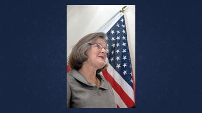 Pennsylvania State Department Secretary Carol Aichele, whose agency oversees elections, spoke from inside the Stonycreek Elections House about that polling building¿s designation as the state¿s first ¿Keystone of Democracy.¿
