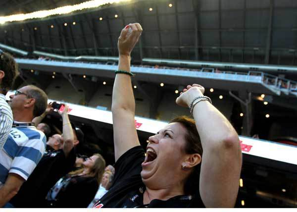 Lady Schmidt of Pinecrest screams during Marlins opening day at Marlins Park