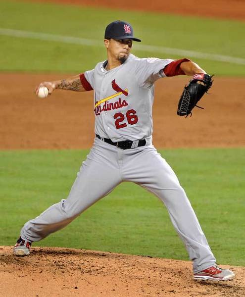 St. Louis Cardinal starter Kyle Lohse unleashes a pitch in the second inning.
