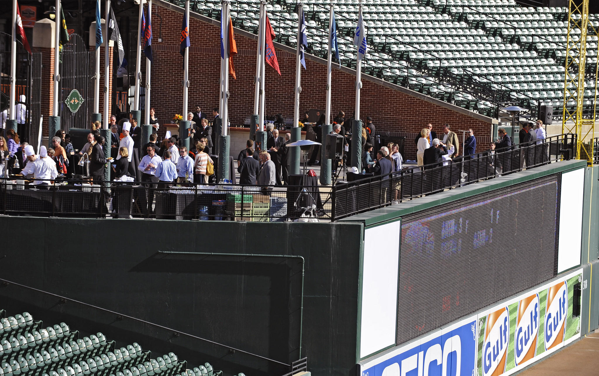 Railing has replaced several feet of wall at the flag court over the right-field wall to improve the view at Oriole Park. The Orioles unveils the new renovation to Oriole Park at Camden Yards.
