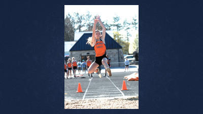 Somerset's Jayna Coyle competes in the long jump during season-opening track meet in Somerset on Wednesday. Coyle won this event with a leap of 16 feet, 11 1/2 inches.