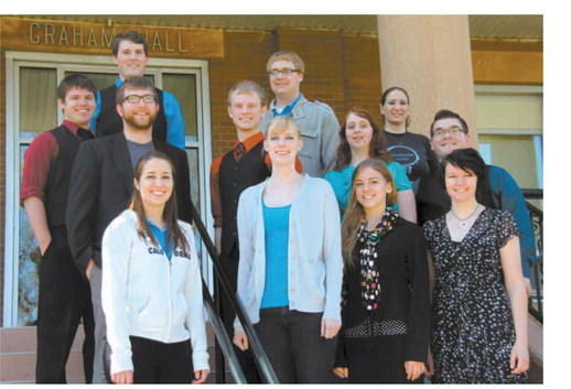 Northern State University students did well at the South Dakota National Association of Teachers of Singing competition March 24 and 25. In the front row, from left, are Larissa Buchholz, Megan Rose Case, Michelle Monroe and Natalie Allcock. In the second row are Paul Hoselton, Anthony Rohr, Brandon Sieck, Emily Davis and Joseph Weseloh. In the back row are Cody Swanson, Jonathan Miller and Kristina Olfert. Courtesy photo