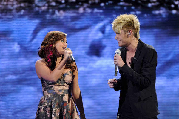 Skylar Laine and Colton Dixon perform in front of the Judges on 'American Idol.'