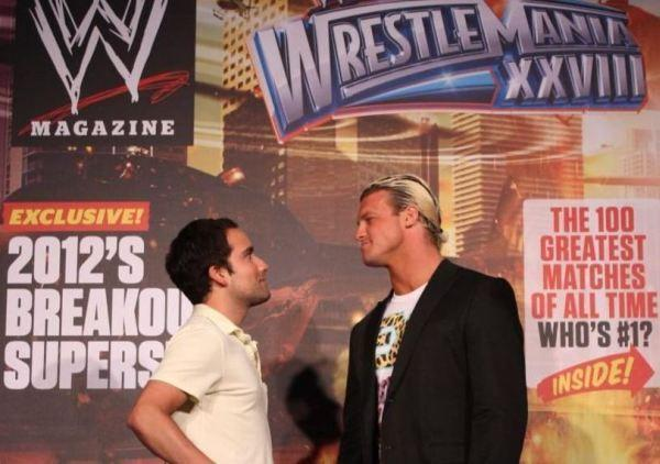 Chicago Tribune columnist Luis Gomez (left) and WWE Superstar Dolph Ziggler (right) stare each other down at Wrestlemania Axxess in the Miami Beach Convention Center March 30, 2012.